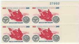 1965 Battle of New Orleans Plate Block of 4 US Stamps Catalog Number 1261 MNH