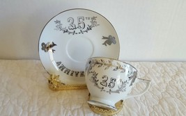 Lefton China 25th Silver Anniversary Tea Cup & Saucer Set Excellent Cond... - $12.99