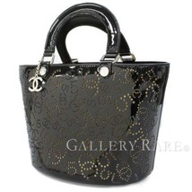 CHANEL Tote Bag Punching No.5 Enamel Calf Black A31335 Italy Authentic 4... - $1,106.13