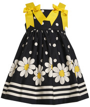 Bonnie Jean Little Girl 2T-6X Navy-Blue White Polka Dot Floral Border Dress