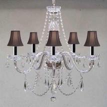 New! Murano Venetian Style Authentic All Crystal Chandelier Lighting W/Black Sha - $148.95