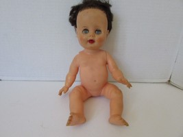 """VINTAGE 13"""" RUBBER BABY DOLL 13M ON NECK ROOTED BROWN HAIR SLEEPY EYES J... - $6.95"""
