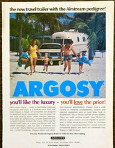 1974 Argosy Travel Trailers PRINT AD Airstream Pedigree Family Beach - $11.69