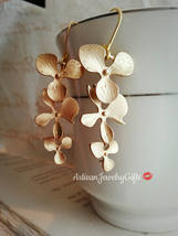 Gold Orchid Earrings Gold Orchid Trio Earrings Matte Gold Orchid Earring... - $48.00