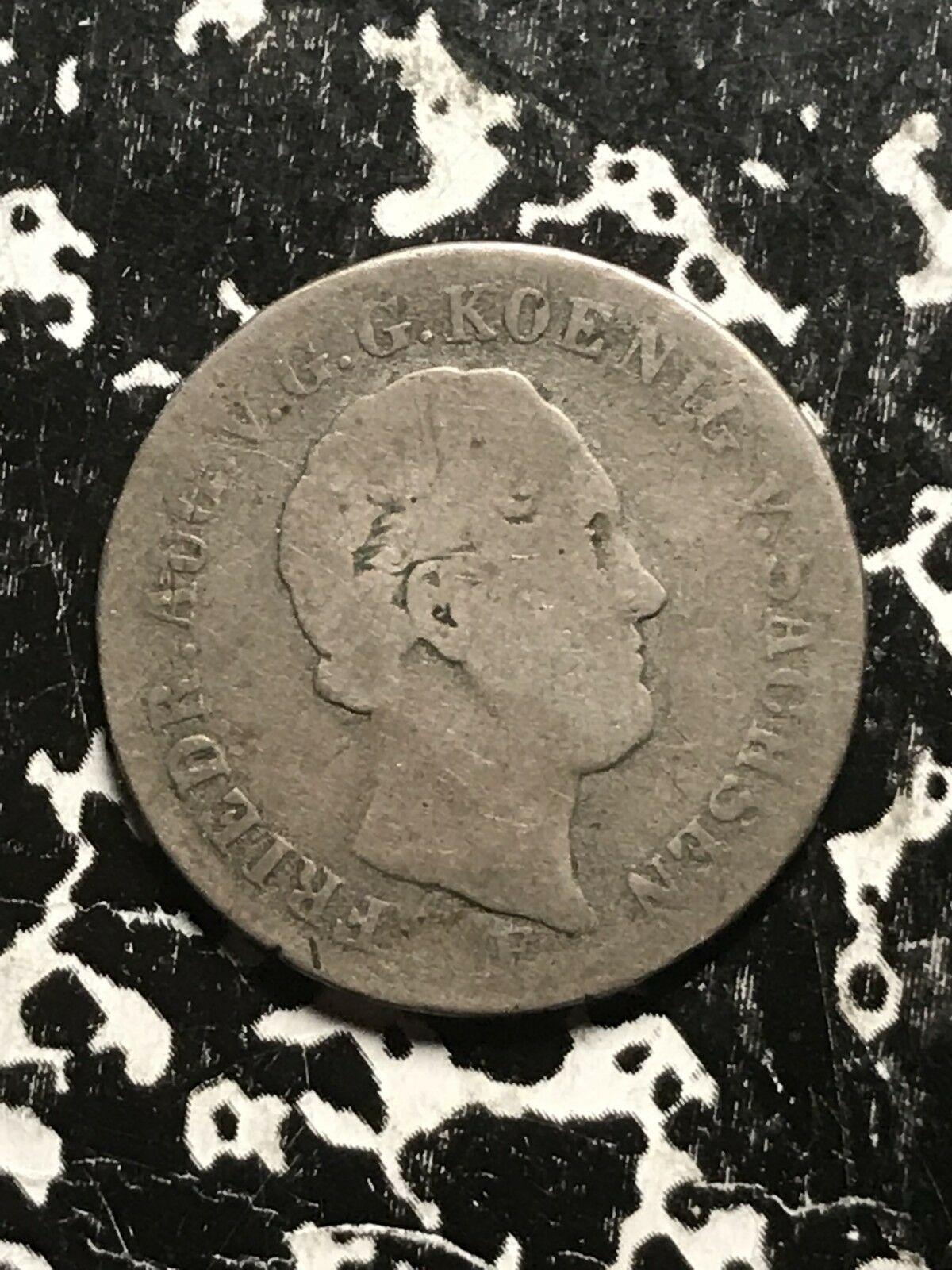 1849-f Tedesco Dichiara Saxony 1/6 Thaler Lotto #0980 Argento! Basso Conio