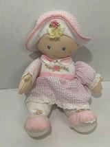Kids Preferred Plush blonde Baby Doll pink gingham flower rose dress hat... - $4.94