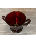 """Anchor Hocking Vintage Red Glass Sugar Bowl OPEN 3-1/2"""" X 3"""" - $16.21"""