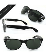 New RAY-BAN New Wayfarer RB 2132 6052 Black/Clear w/G-15 Green 52 mm - $137.15