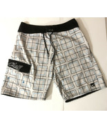 "Oneill Mens 32"" Swim Trunks Board Shorts Inseam 9.5"" Gray Blue Squares (S3) - $23.38"