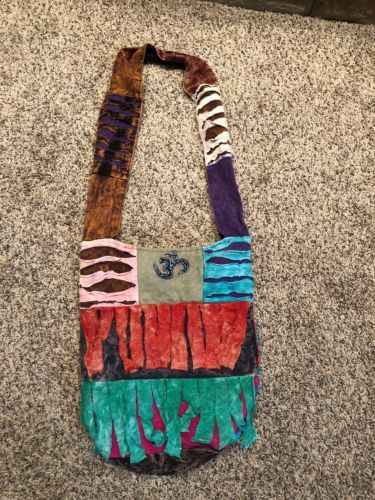 Primary image for Hippie bohemian hobo patchword purse bag multicolor zips inside tye dyed