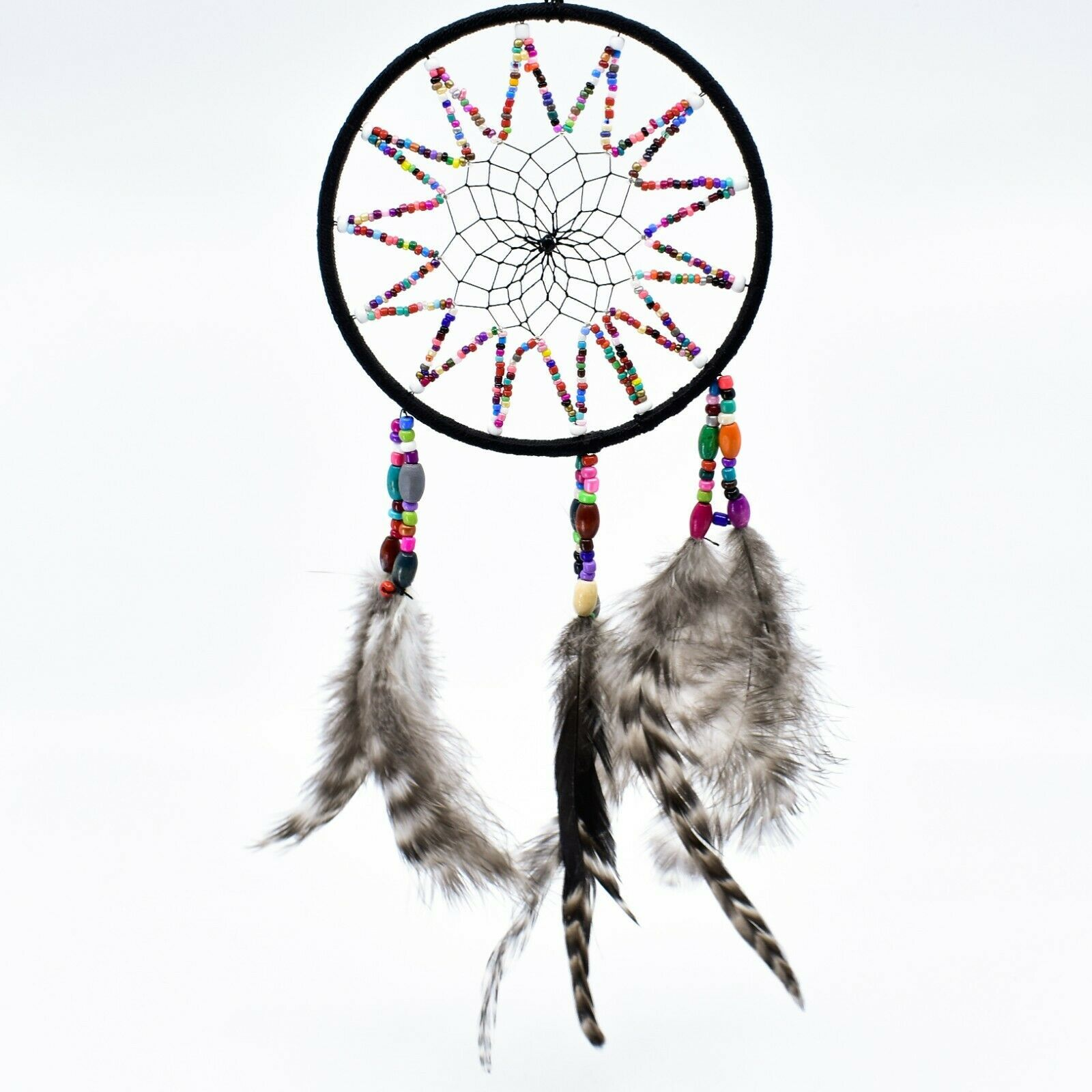 """Handcrafted 11"""" Dreamcatcher Colorful Plastic & Wood Beads w Gray Feathers"""