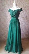 Emerald green Retro Off Shoulder Long Prom Dress Womens Green Maxi Evening Dress image 5