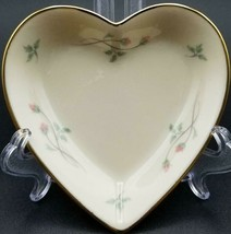 "Vintage Lenox Rose Manor Pink Porcelain 4"" Heart Shaped Trinket Dish Gol... - $4.84"