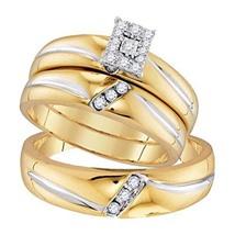 His & Her's 14k Yellow Gold Fn 1/5 Ct Diamond Trio Engagement Wedding Ring Set - $149.80