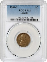 1909-S Lincoln 1c PCGS F12 - Scarce First-Year Issue - Lincoln Cent - $116.40