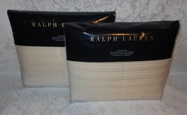 "Lot 2 Ralph Lauren Reed Hollywood Cream Standard Pillow Shams 20"" x 28"" ... - $88.99"