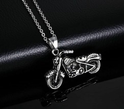 Stainless Steel Ghost Rider Rock Punk Necklace Biker Motorcycle Pendant ... - $9.68