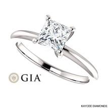 1/2 (0.50) Carat Princess Cut GIA Certified Diamond Ring in 14K White Gold