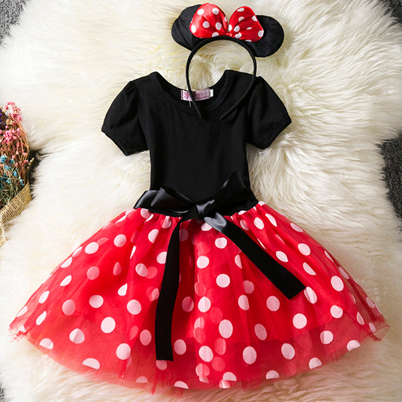 Cute Girls Pageant Dress 2018 Red Polka Dots Flower Girl Dress Party Summer Gown