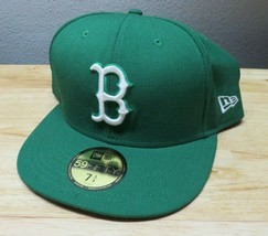 Boston Red Sox Green Basics New Era 59Fifty Fitted Hat - Size 7 3/4 100%... - $22.76