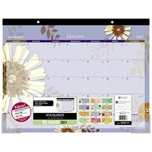 """AT-A-GLANCE Desk Pad Calendar 2017, Monthly, 21-3/4 x 17"""", Paper Flowers... - $1,065.78"""