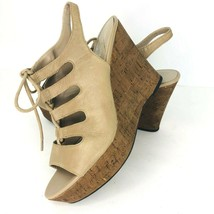 Franco Sarto Sunitha 7.5 M Beige Leather Lace Up Platform Cork Wedge Heel Sandal - $44.54