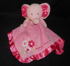 Carter's Security Blanket Baby Pink Elephant Mommy Rattle Stuffed Animal Plush - $31.09