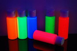 6 Pack 2oz Assorted Blacklight Reactive Fluorescent Acrylic Paint - $23.95