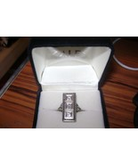 LADIES 14kt White Gold ANTIQUE Dinner RING w/ 3... - $1,059.24