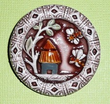 """Bee & Bee Hive Large Art Stone Shank Button - 1-1/2"""" - $12.66"""