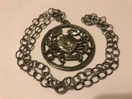 """VTG 70's CANCER Horoscope Large Crab Pendant Necklace 16.5"""" Long ZODIAC - $19.75"""