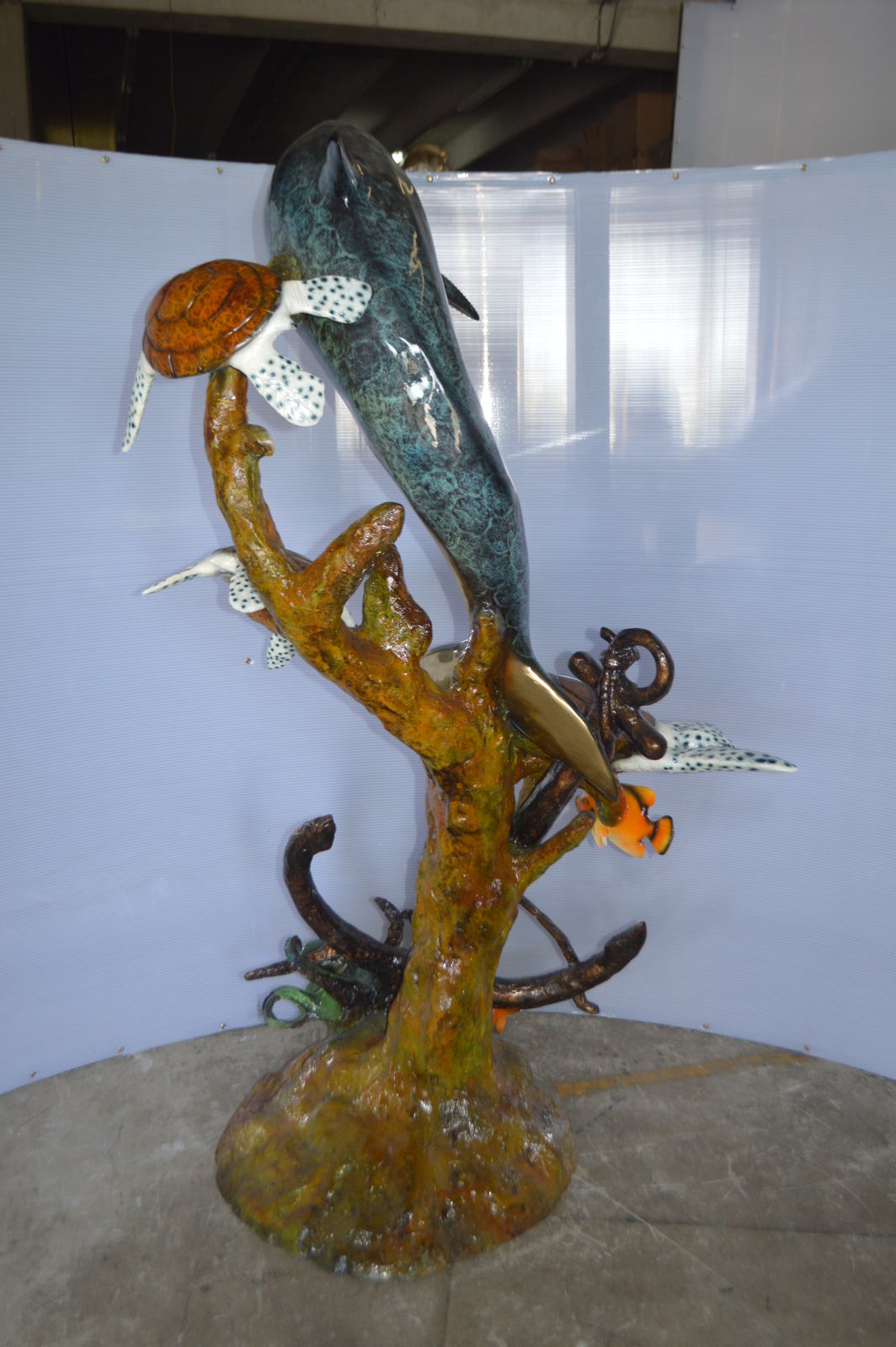 "Dolphin with Three Turtles Fountain Bronze Statue -  Size: 43""L x 47""W x 74""H."