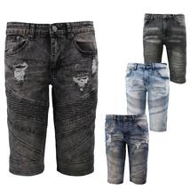 Men's Distressed Denim Faded Wash Slim Fit Moto Quilt Skinny Jean Shorts image 1