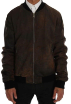 Men's New Latest Fashion Hand Waxed Brown Goat Leather Bomber Biker Jack... - $141.67