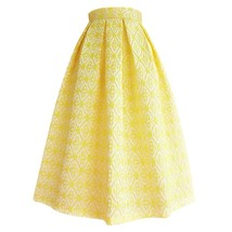 Lady Yellow Midi Party Skirt Spring Plus Size Full Pleated Skirt w. Wing Pattern image 1
