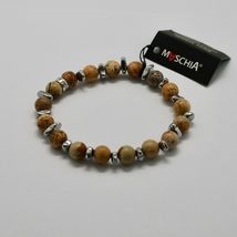 Silver Bracelet 925 with Hematite and Jasper BWI-3 Made in Italy by Maschia image 3