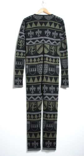 Stella McCartney Wool Black Green Knit Jumpsuit Long Sleeve crew Neck Romper M