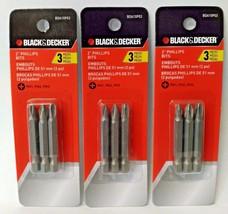 "Black & Decker BDA10P03 3 Piece 2"" Phillip Screwdriving Bits PH1 PH2 PH3... - $4.16"