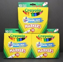 Crayola Broad Line Markers Classic Colors 10 Pack Broad Line Lot of 3 Pa... - $10.69