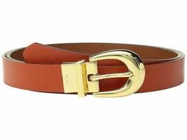 Laure Ralph Lauren 1 Saffiano to Smooth Reversible Belt (Burnt Orange, XL) - $43.56