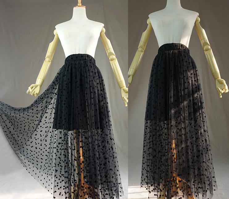 Women Black Long Tulle Skirt Retro Polka Dot Floor Length Tulle Skirt Prom Skirt