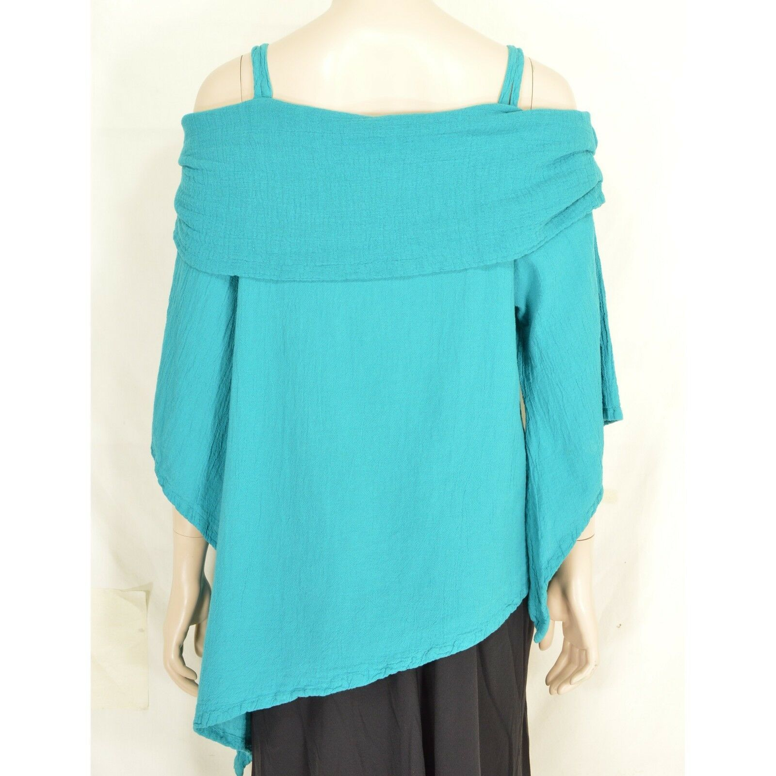 Oh My Gauze top M Pilar turquoise reef bell sleeves cold shoulder asymmetrical