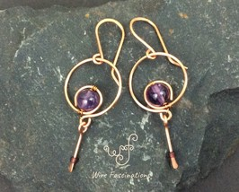 Handmade Amethyst earrings: small copper hoops with single dangle - $27.00