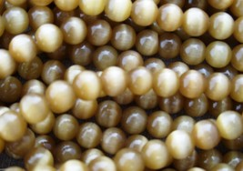 60 4mm Fiber Optic Cats Eye Beads -- Olive - $1.51
