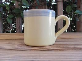 "Mamma Ro~Italian~4"" Coffee Mug~Mustard~Gray Stripe - $12.59"