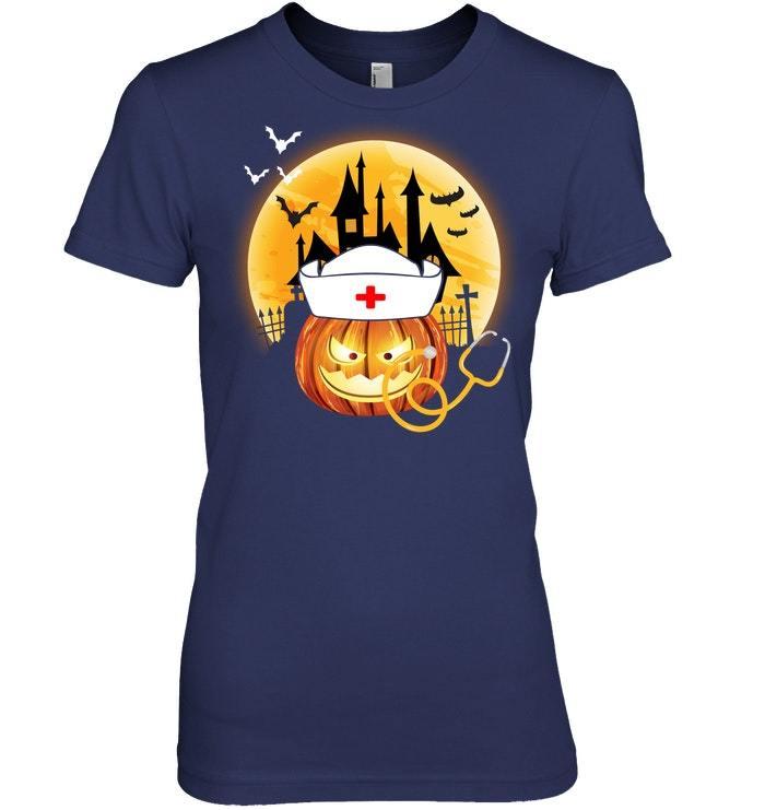 Funny Nurse Pumpkin Halloween Costume For Nurse Tshirt