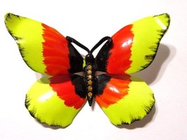 BUTTERFLY PIN ORANGE YELLOW ENAMEL BLACK WITH ORANGE RHINESTONE ACCENTS ... - $30.00
