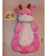 Baby Gear Pink White Brown Cow Security Blanket Lovey Fur Tummy Squeak B... - $14.99
