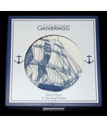 "4 Godinger Coastal Nautical Ship Appetizer Dessert Plates 6"" NWT FREE SH... - $44.54"
