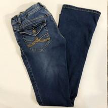 Mudd Girls Size 16 Dark Wash Super Stretchy Boot Cut Jeans Adjustable Waist - $19.79